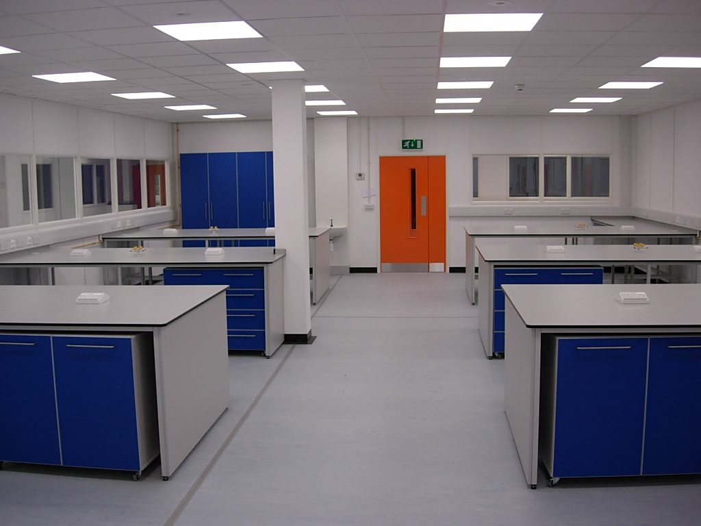Lab room interior fit out including specialist partitioning and suspended ceiling.