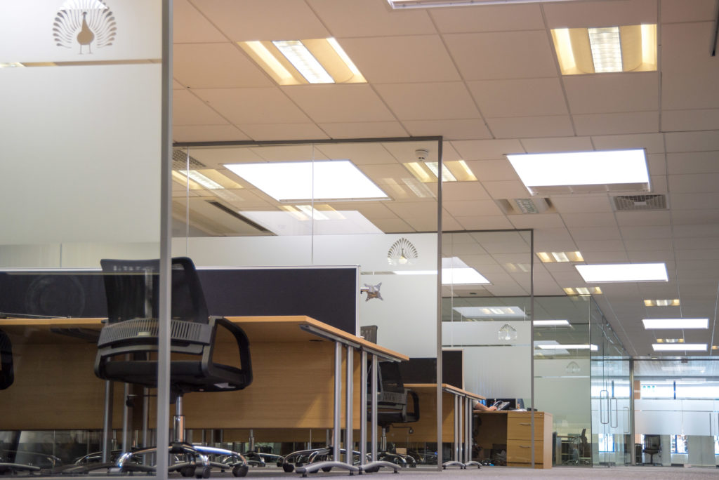 Open plan office with freestanding glass partition dividing walls with desks between.