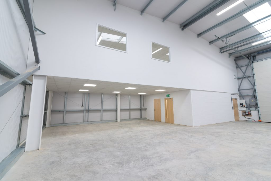 Industrial unit mezzanine floor and partitioning fit out Peterborough