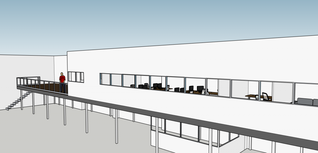 Mezzanine floor office fit out 3D image, Wisbech.