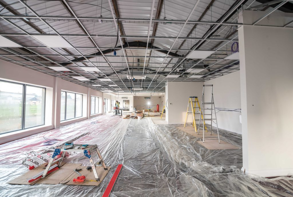 During construction phase of the APS Showroom Fit Out